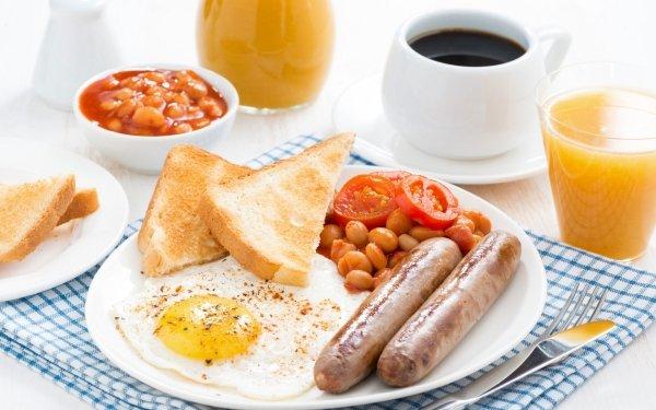 Alimento Desayuno Huevo Sausage Café Cup Mermelada Toast Jugo Fondo de pantalla HD | Fondo de Escritorio