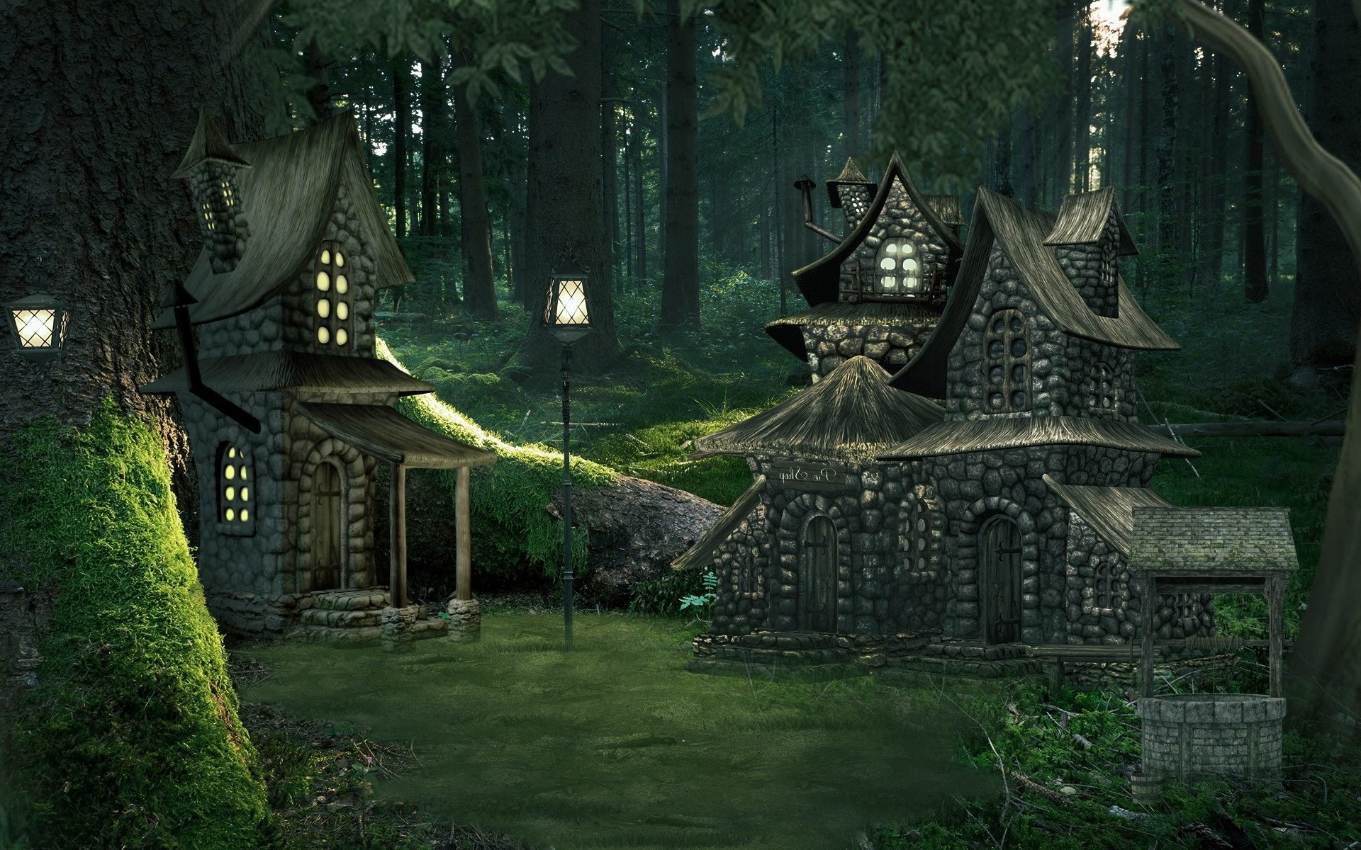 cottages in enchanted forest hd wallpaper background