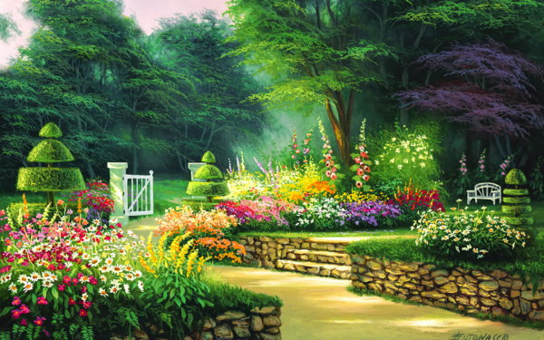 Artistic Painting Spring Flower Garden Bench Tree HD Wallpaper | Background Image