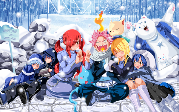Anime Fairy Tail Lucy Heartfilia Natsu Dragneel Erza Scarlet Juvia Lockser Gray Fullbuster Wendy Marvell Happy Charles HD Wallpaper   Background Image