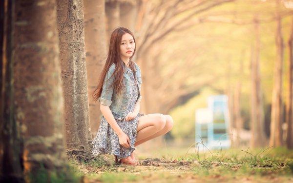 Women Asian Model Depth Of Field Brunei Brown Eyes Long Hair HD Wallpaper   Background Image