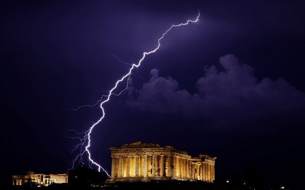 Photography Lightning Greece Parthenon HD Wallpaper | Background Image