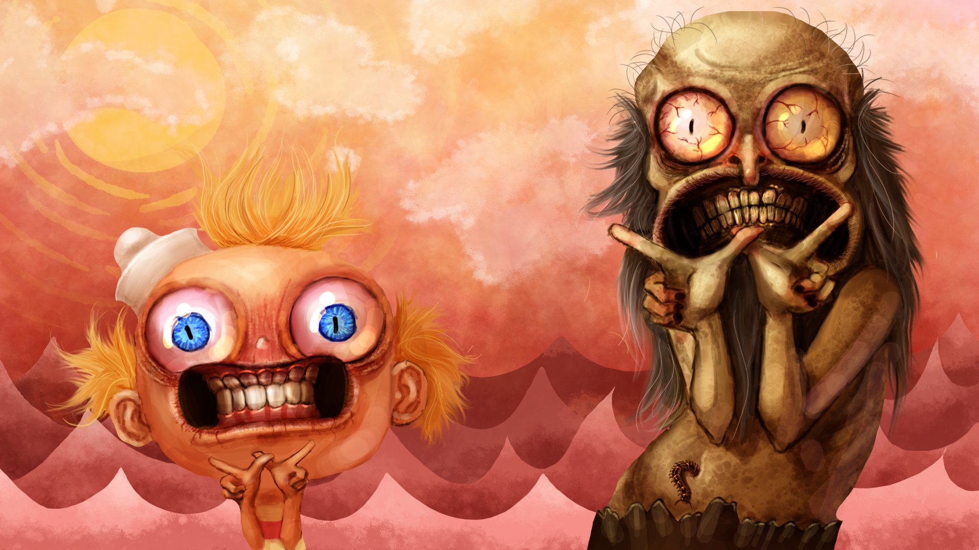 Televisieprogramma - The Marvelous Misadventures Of Flapjack  Zombie Horror Griezelig Oog Surreal Wallpaper