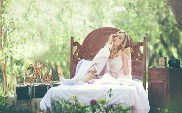 Women Fashion Model Depth Of Field Blonde Bed HD Wallpaper   Background Image