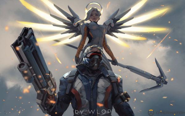 Video Game Overwatch Mercy Soldier: 76 HD Wallpaper   Background Image