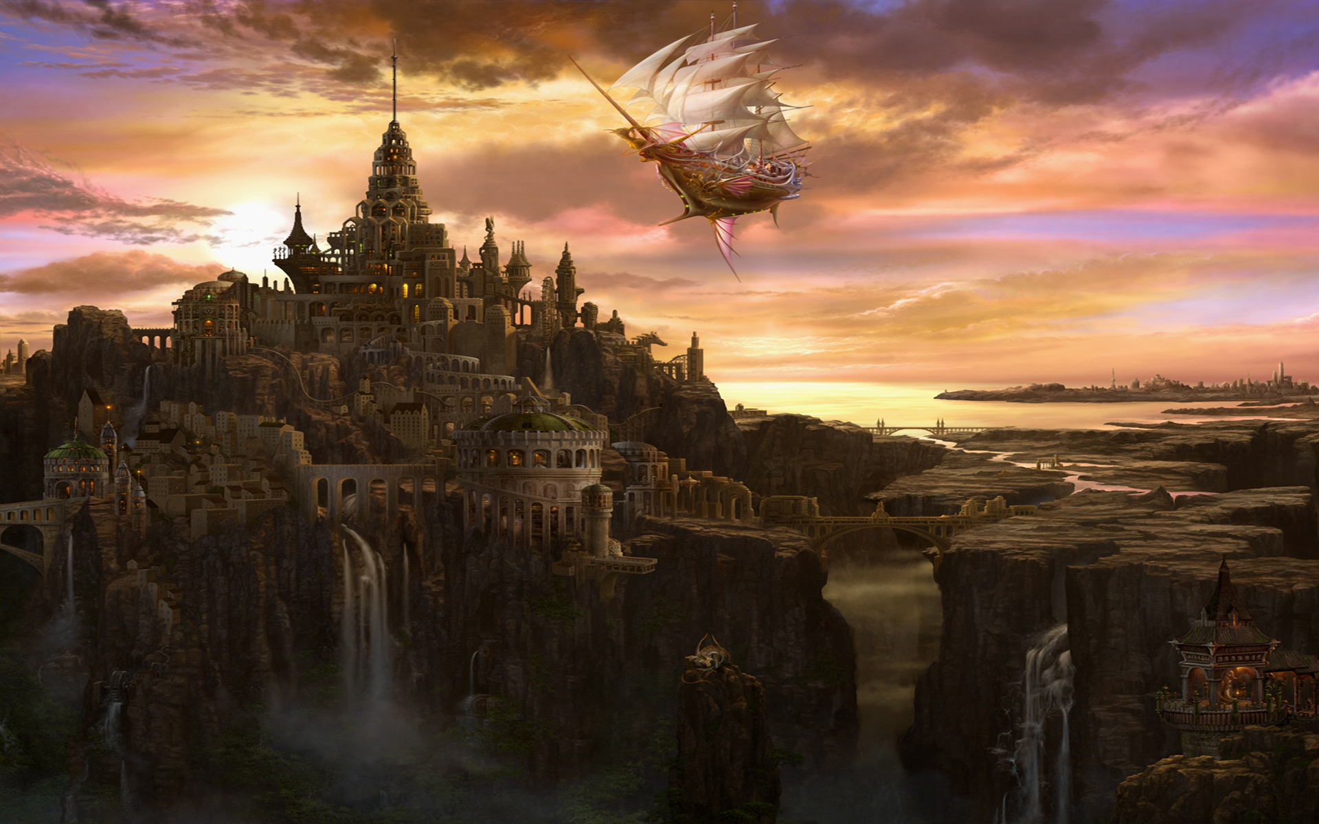 Fantasy - City  - Fantasy - Waterfall - Sky - Ship Wallpaper