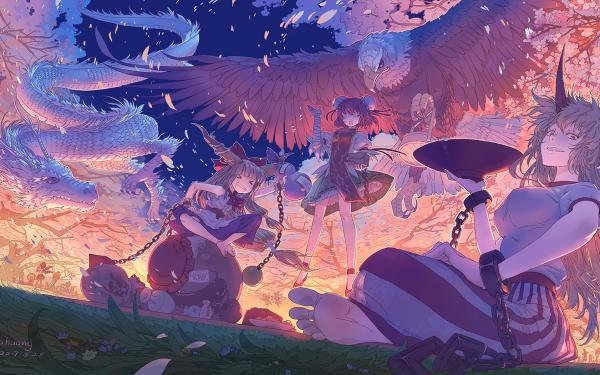 Anime Touhou Suika Ibuki Yuugi Hoshiguma Kasen Ibaraki HD Wallpaper | Background Image
