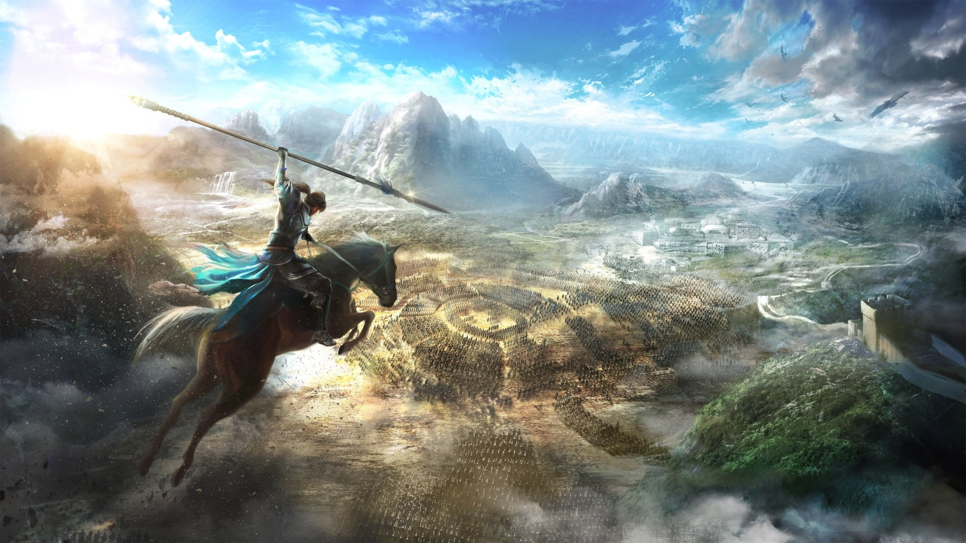 Video Game - Dynasty Warriors 9  Battle Warrior Spear Horse Landscape Army Wallpaper