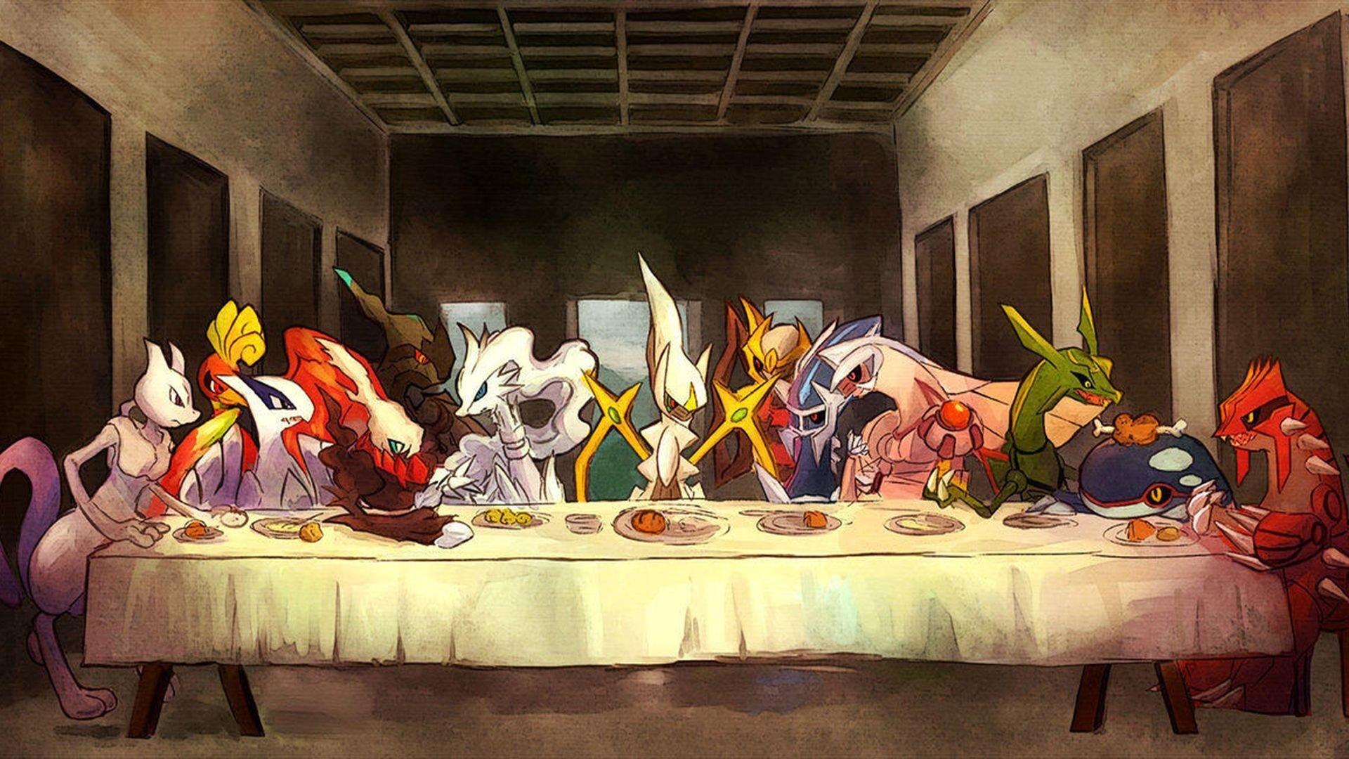Anime - Pokémon  Mewtwo (Pokémon) Ho-oh (Pokémon) Lugia (Pokémon) Darkrai (Pokémon) Reshiram (Pokémon) Zekrom (Pokemon) Arceus (Pokémon) Giratina (Pokémon) Dialga (Pokémon) Palkia (Pokémon) Rayquaza (Pokémon) Kyogre (Pokémon) Groudon (Pokémon) The Last Supper Wallpaper