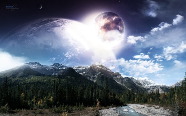 Sci Fi Planet Rise Landscape Planet Cloud HD Wallpaper | Background Image