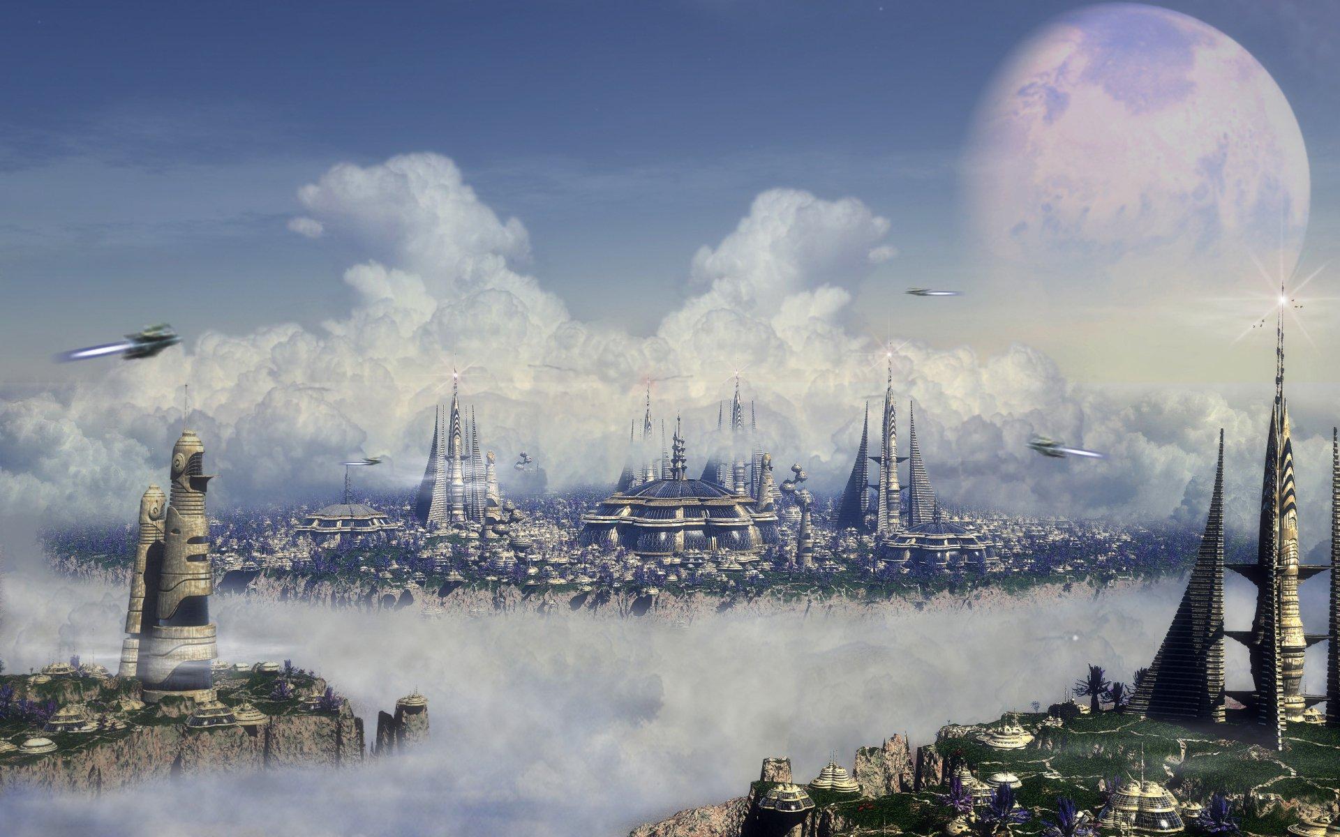 Sci Fi - City  Planet Ship Cloud Sci Fi Wallpaper