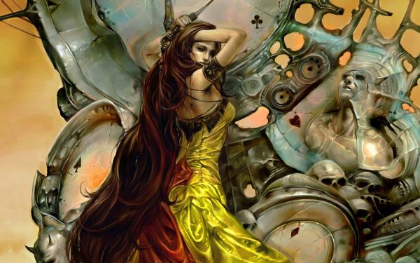 Fantasía Mujeres Dagger Long Hair Woman Warrior Gótico Arma Fondo de pantalla HD | Fondo de Escritorio