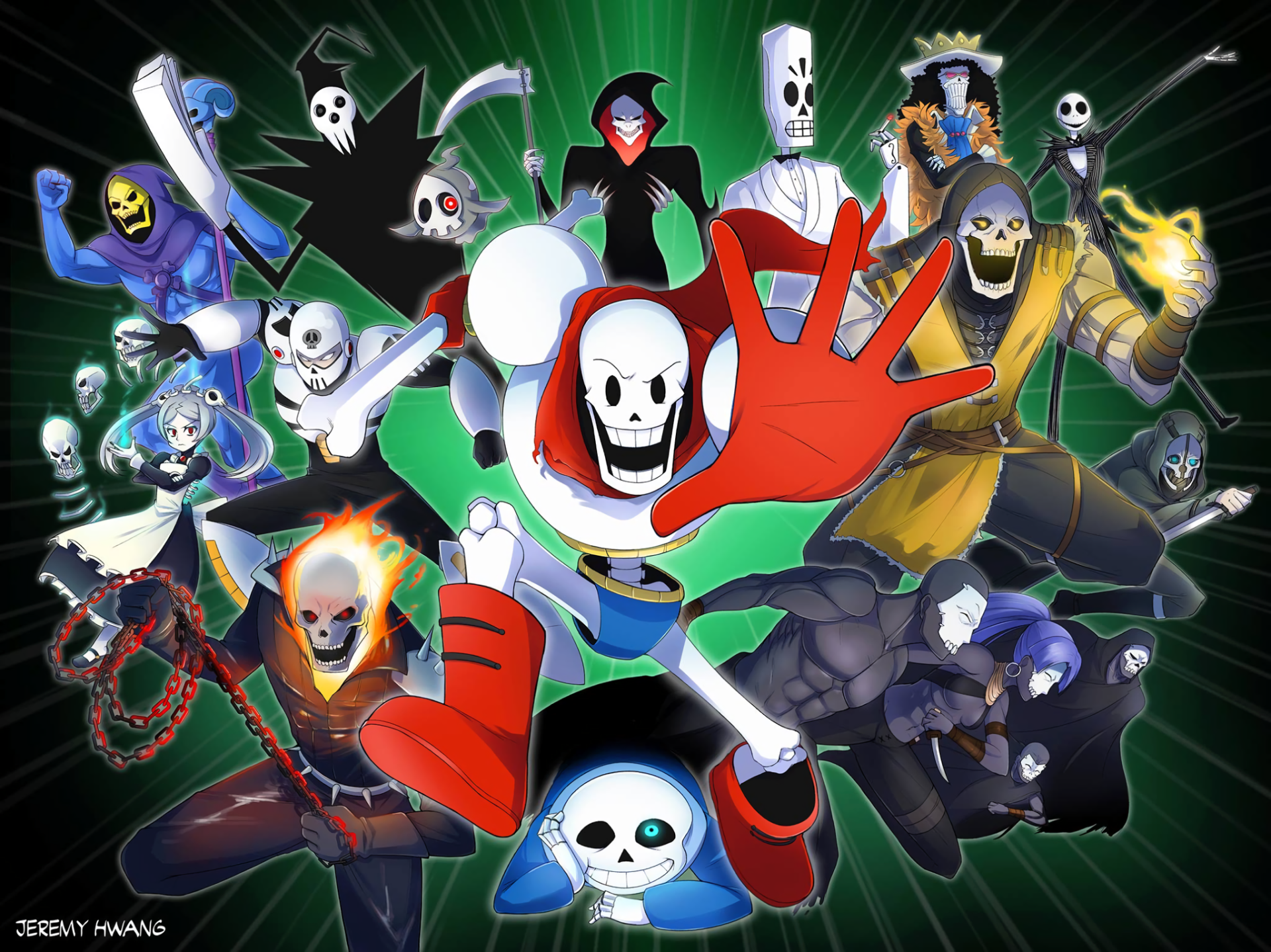 Video Game - Crossover  Sans (Undertale) Papyrus (Undertale) Ghost Rider Scorpion (Mortal Kombat) Skeletor Lord Death (Soul Eater) Brook (One Piece) Jack Skellington Duskull (Pokémon) Skull Man (Mega Man) Grim (The Grim Adventures of Billy & Mandy) Manuel Calavera Skeleton Marie (Skullgirls) Wallpaper