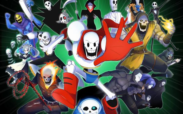 Videojuego Crossover Sans Papyrus Ghost Rider Scorpion Skeletor Lord Death Brook Jack Skellington Duskull Skull Man Grim Manuel Calavera Esqueleto Marie Corvo Attano Fondo de pantalla HD | Fondo de Escritorio