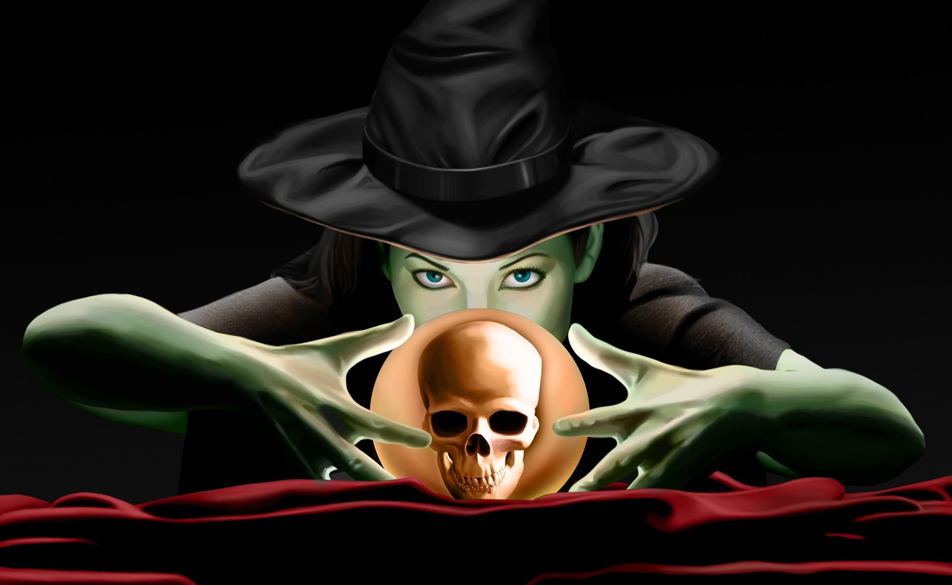 Holiday - Halloween  Holiday Witch Skull Witch Hat Blue Eyes Wallpaper