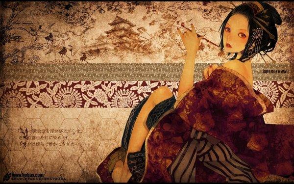 Women Artistic Asian Geisha Kimono HD Wallpaper | Background Image