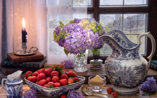 Photography Still Life Flower Candle Strawberry Hydrangea Midsummer's Day HD Wallpaper | Background Image