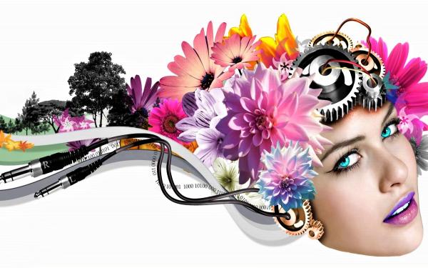 Women Artistic Woman Girl Face Vector Flower Gear Tree Blue Eyes HD Wallpaper   Background Image
