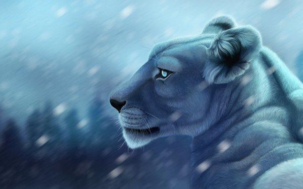 Fantaisie Lion Animaux Fantastique Animaux Snowfall Big Cat Fond d'écran HD | Arrière-Plan