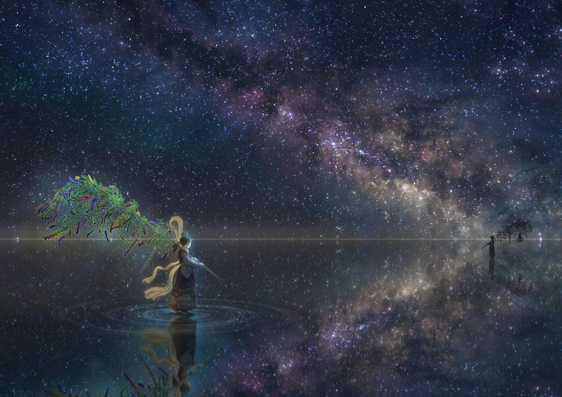 Anime - Original  Night Horizon Girl Reflection Stars Wallpaper