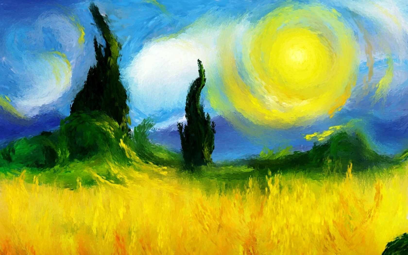Artistic - Painting  - Sun - Fields - Artistic Wallpaper