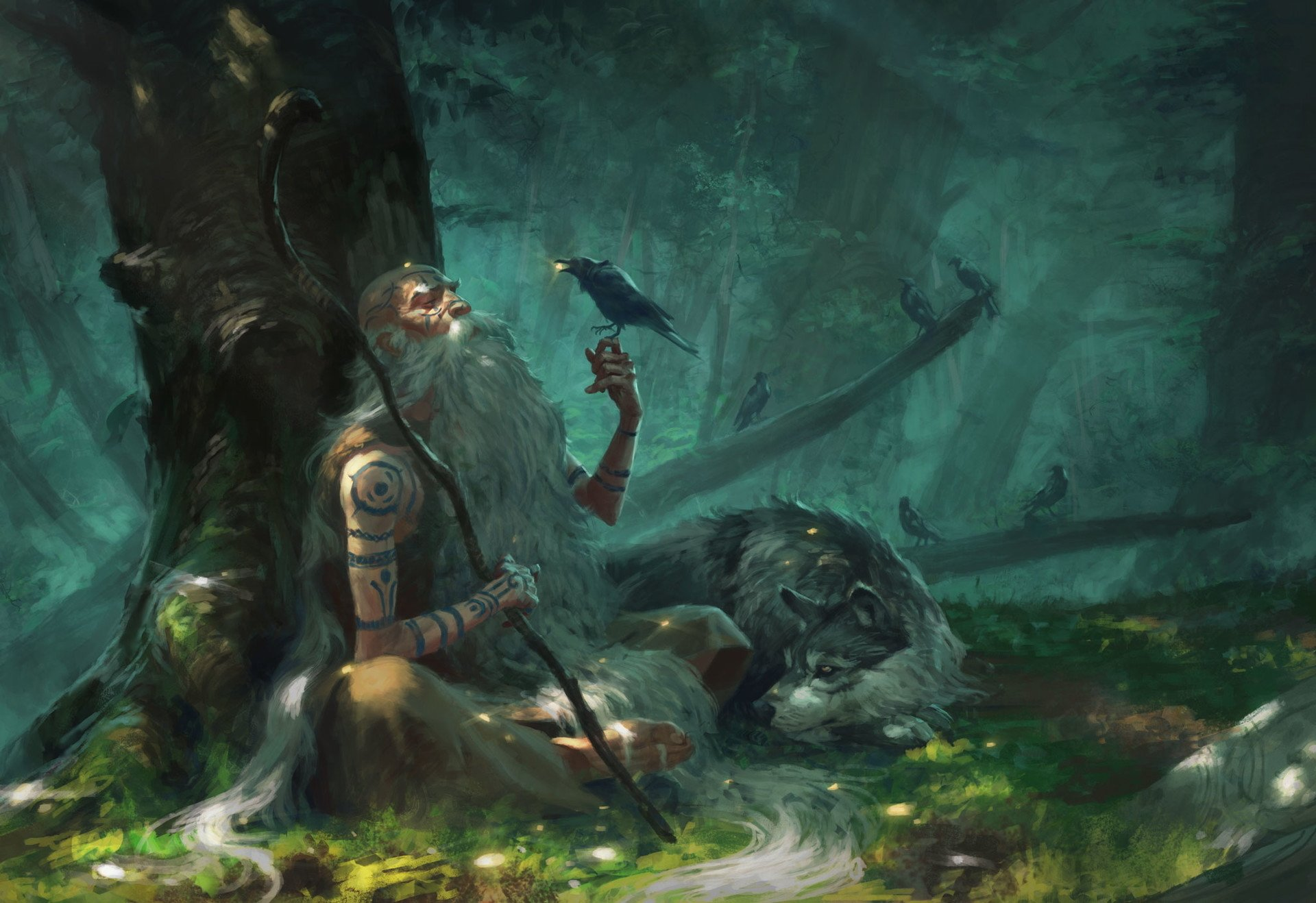 Fantasy - Shaman  Man Beard Forest Tattoo Wolf Crow Staff Wallpaper