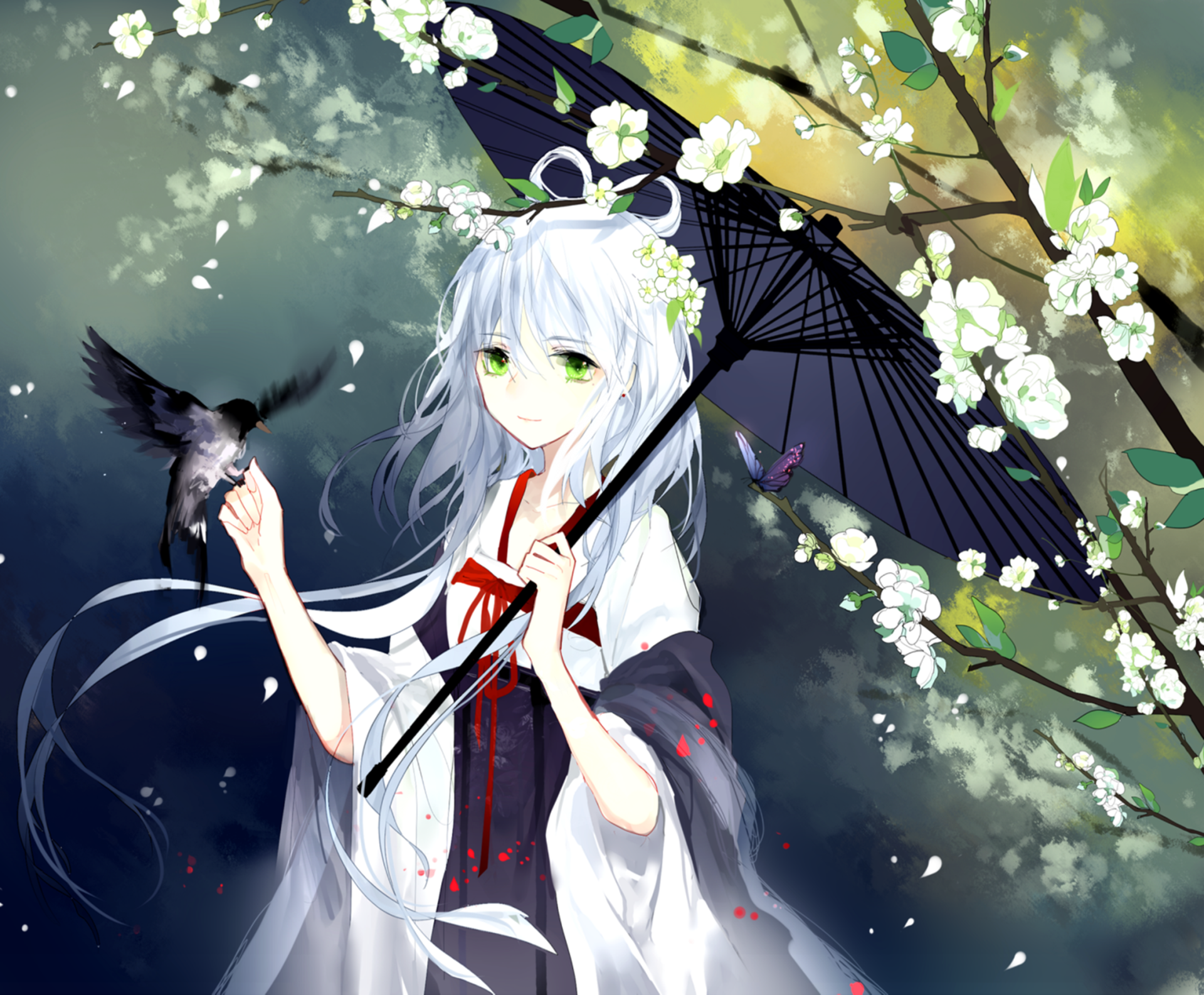 Anime - Original  White Hair Bird Green Eyes Flower Umbrella Wallpaper