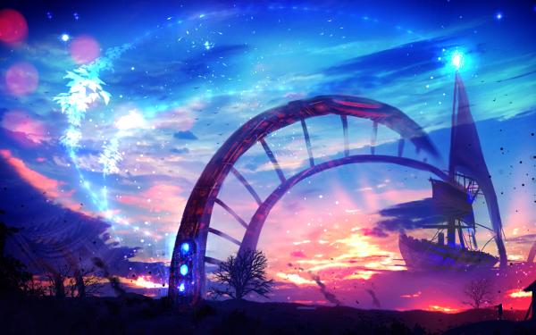 Anime Original Ship Cloud Sky Sunset Fantasy HD Wallpaper   Background Image