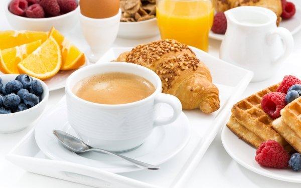Alimento Desayuno Café Cup Baya Croissant Gofre Frambuesa Arándano Fondo de pantalla HD | Fondo de Escritorio