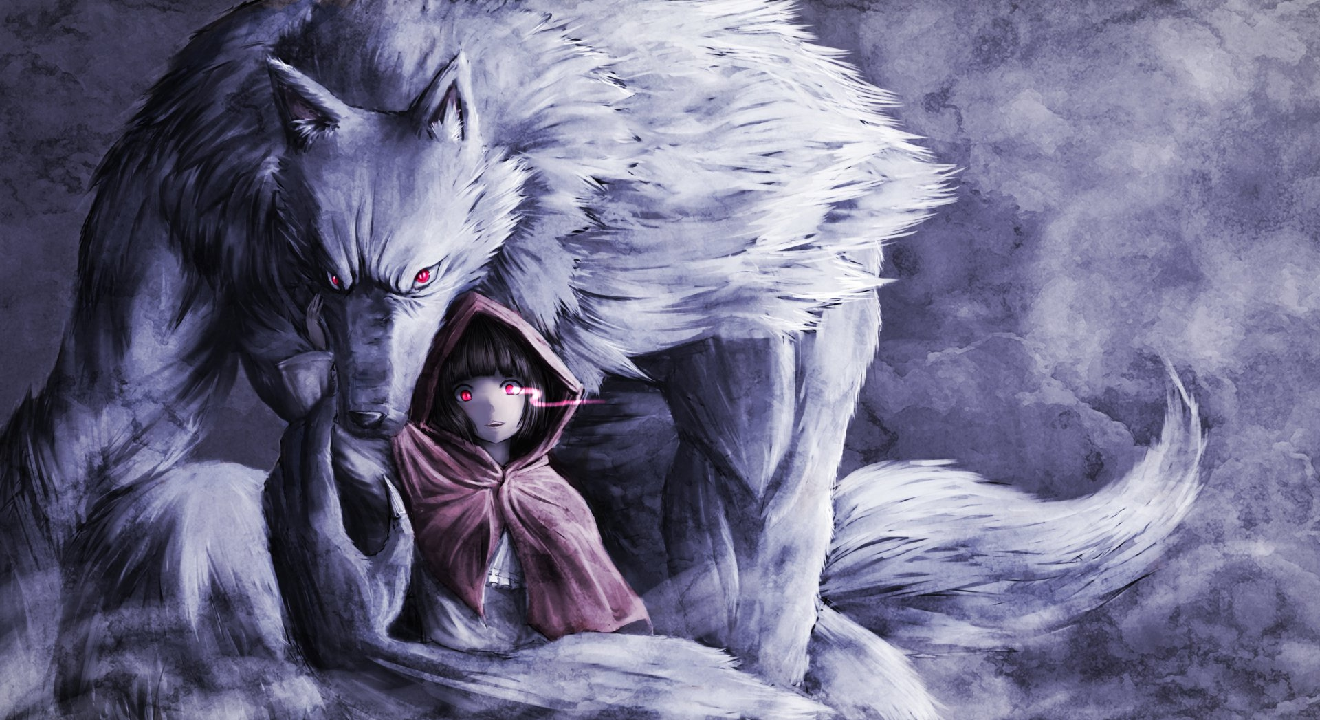 Fantasy - Red Riding Hood  Fantasy Girl Child Hood Wolf Red Eyes Wallpaper