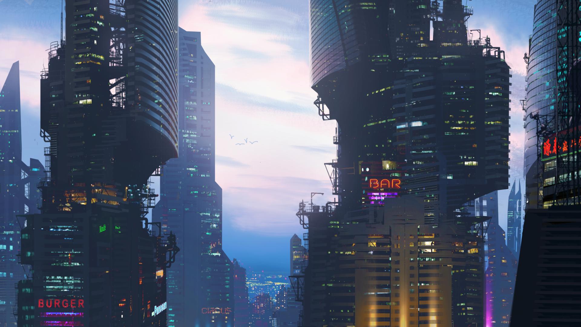 Sci Fi - City  Building Cloud Sky Sci Fi Bar Skyscraper Wallpaper