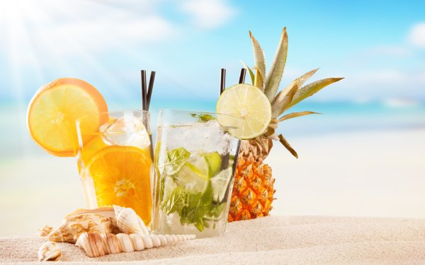 Food Drink Summer Sand Cocktail Glass Fruit Shell HD Wallpaper | Background Image