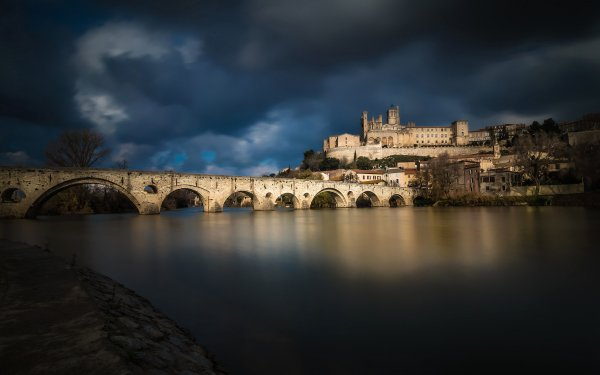 Man Made Town Towns Bridge France Beziers River HD Wallpaper | Background Image
