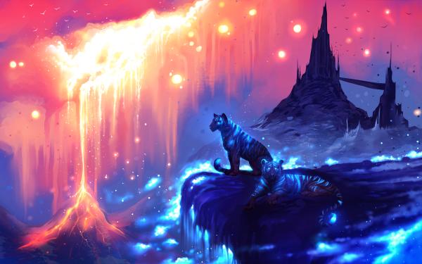 Fantaisie Tigre Animaux Fantastique Lava Château Lumière Fond d'écran HD | Image