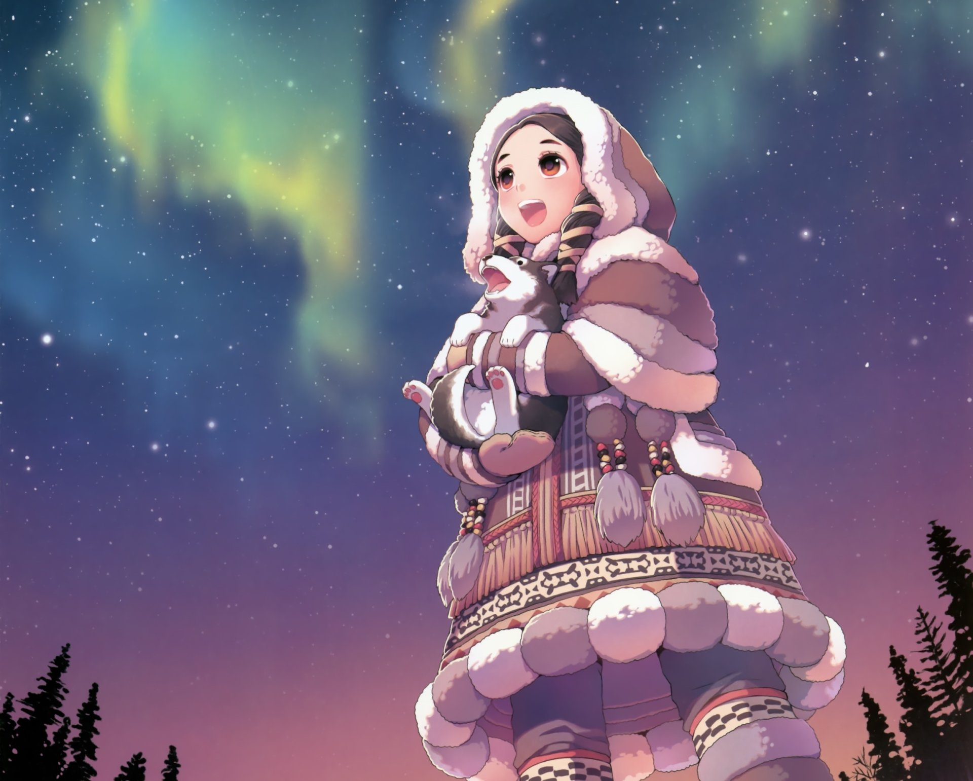 Anime - Original  Husky Coat Aurora Borealis Smile Brown Eyes Long Hair Black Hair Blush Stars Puppy Baby Animal Wallpaper