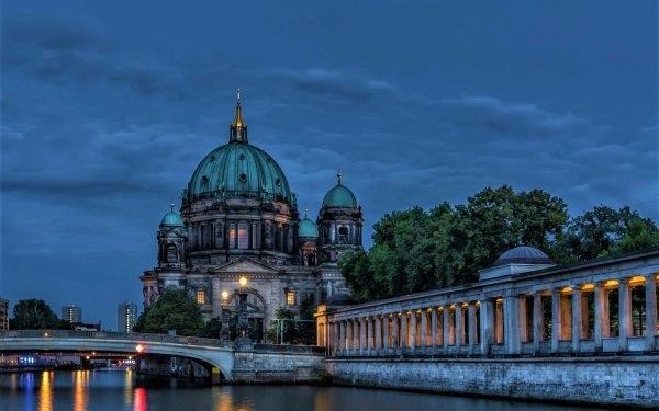 Religious Berlin Cathedral Cathedrals City Berlin River Bridge Night Twilight Dusk Dome HD Wallpaper   Background Image