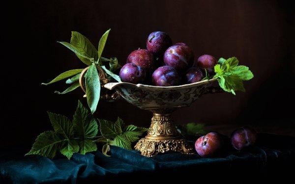 Photography Still Life Plum Bowl Leaf Fruit HD Wallpaper   Background Image