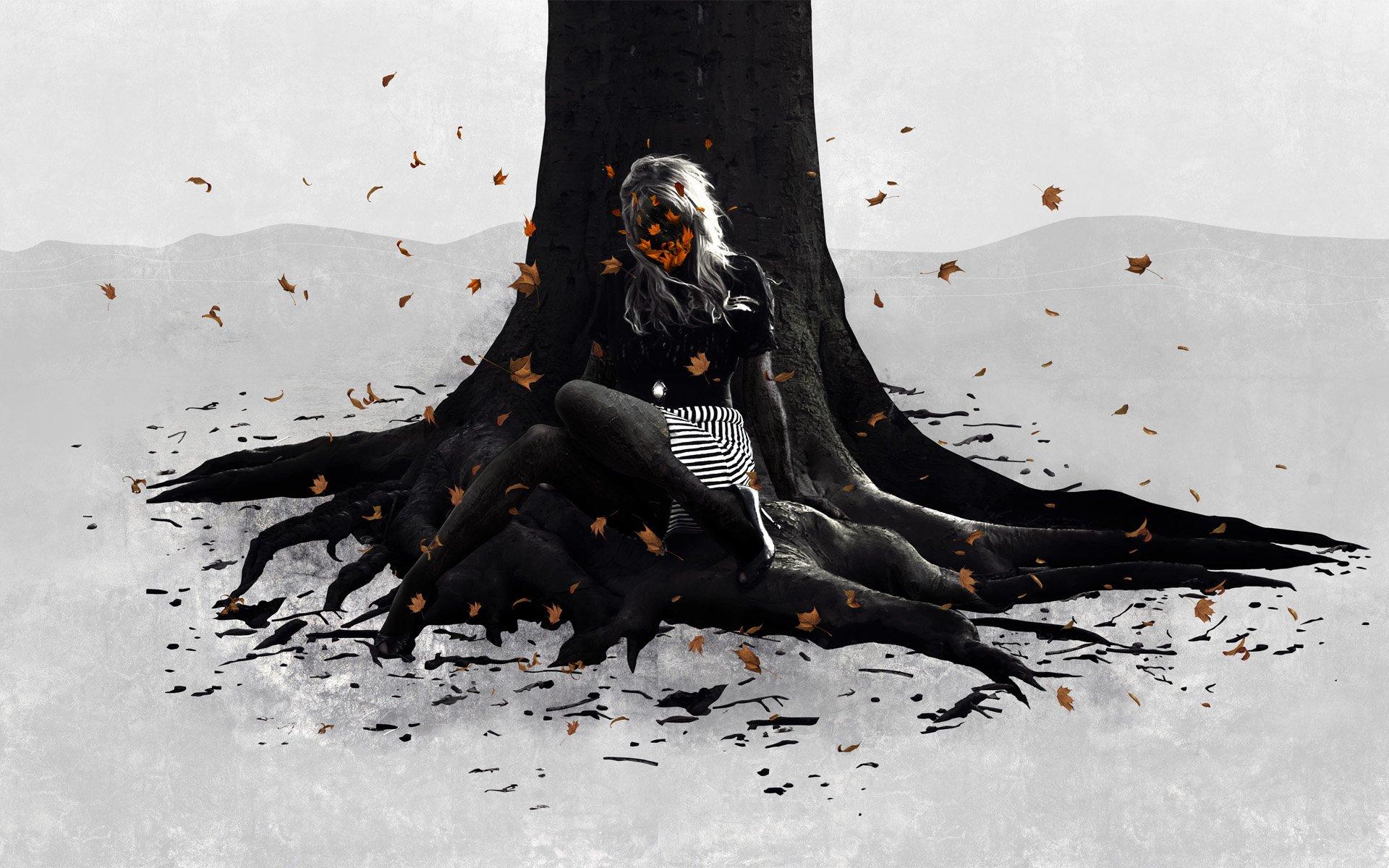 Artístico - Mujeres  Woman Árbol Otoño Artístico Fondo de Pantalla
