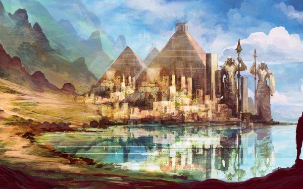 Fantasía Ciudad Lago Reflejo Pirámide Paisaje Estatua Fondo de pantalla HD | Fondo de Escritorio