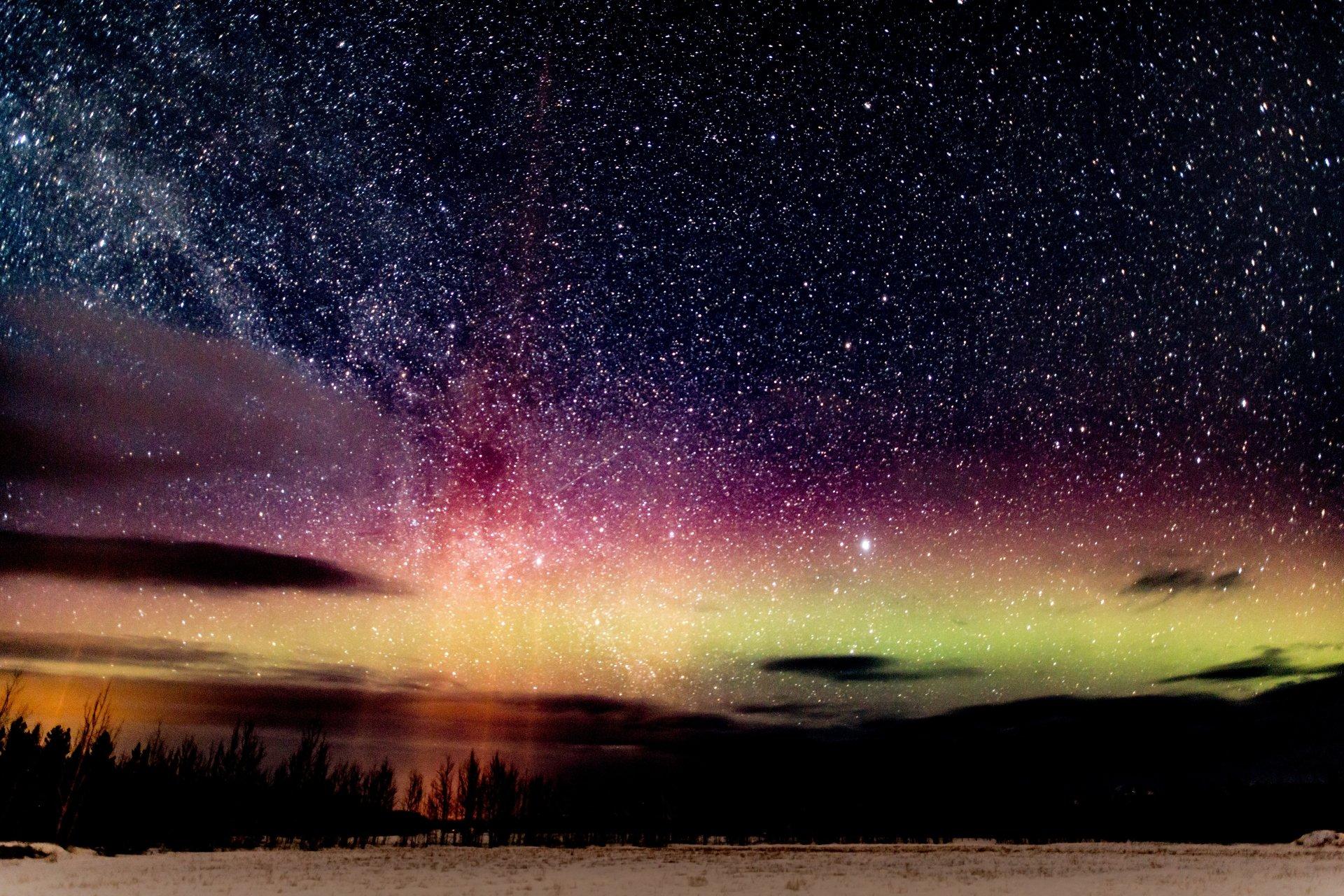 Earth - Aurora Borealis  Nature Night Sky Stars Starry Sky Winter Wallpaper