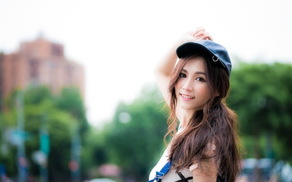 Kvinnor Asian Woman Model Brunette Smile Depth Of Field Cap HD Wallpaper | Background Image