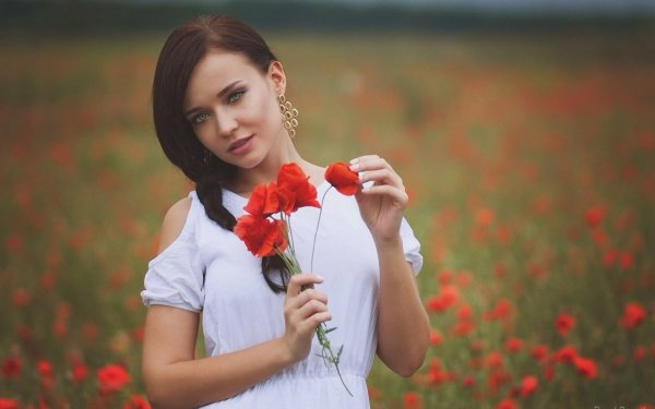 Women Model Models Poppy Flower Red Flower Summer Depth Of Field Brunette Braid Earrings Green Eyes HD Wallpaper | Background Image