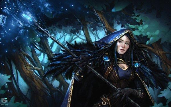 Fantasy Angel Fallen Angel Dark Wings Black Cape Hood Staff Black Hair HD Wallpaper | Background Image
