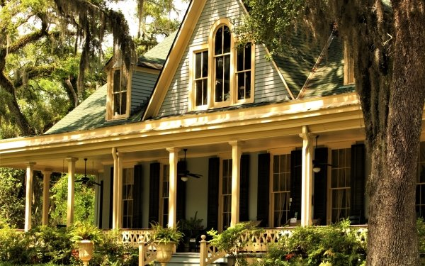 Man Made House Buildings Mansion Tree Porch HD Wallpaper   Background Image