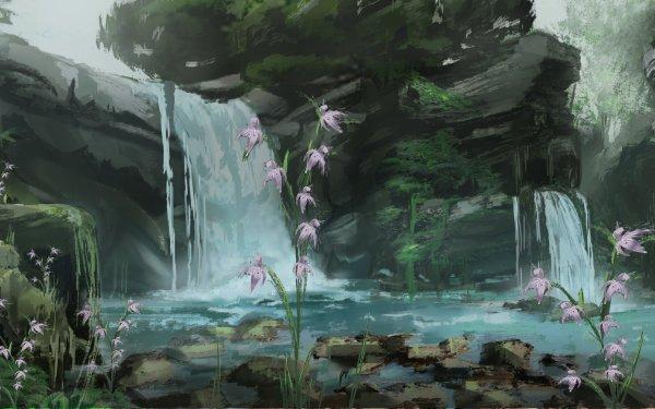 Fantaisie Waterfall Nature Fleur Pierre Fond d'écran HD | Image