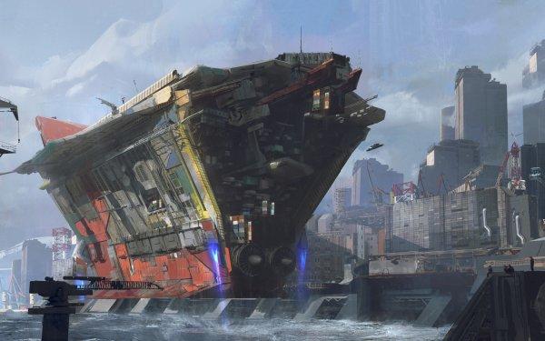 Sci Fi Spaceship Building Harbor HD Wallpaper | Background Image