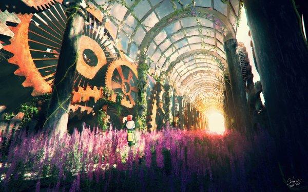 Anime Original Steampunk Abandoned Flower Sunlight HD Wallpaper | Background Image