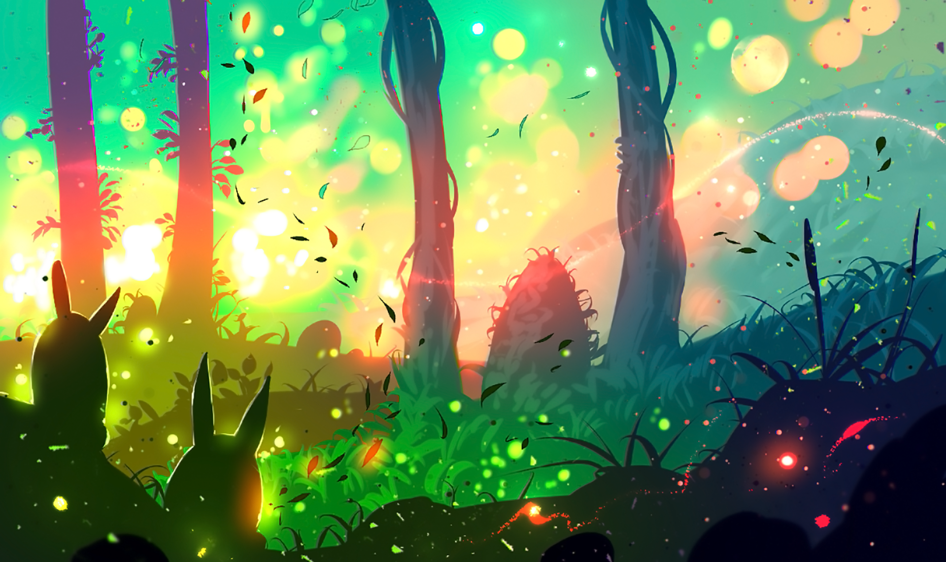 Fantasy - Artistic  Bunny Forest Tree Sunset Sunshine Fantasy Wallpaper