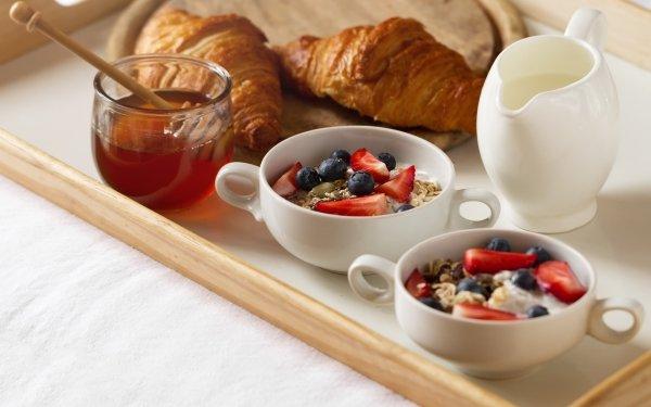 Mat Breakfast Still Life Honey Croissant Bär HD Wallpaper | Background Image