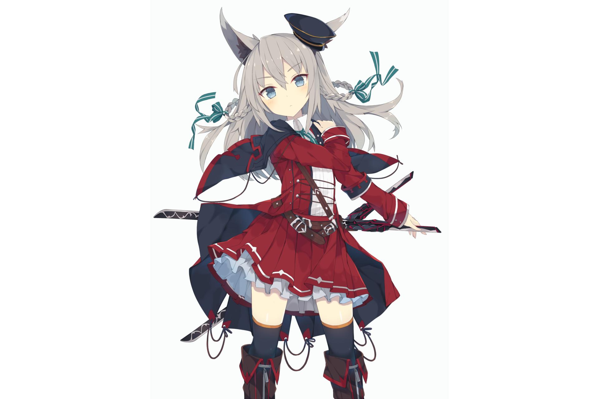 动漫 - 原创  Nekomimi Dress Thigh Highs 武士刀 Hat White Hair Uniform 女孩 壁纸